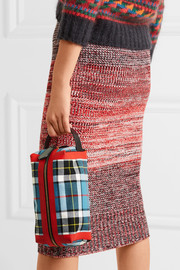 Leather-trimmed tartan cotton-canvas clutch