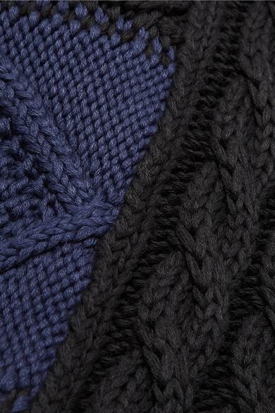MM6 Maison Margiela Asymmetrischer, zweifarbiger Zopfstrickpullover aus Baumwolle