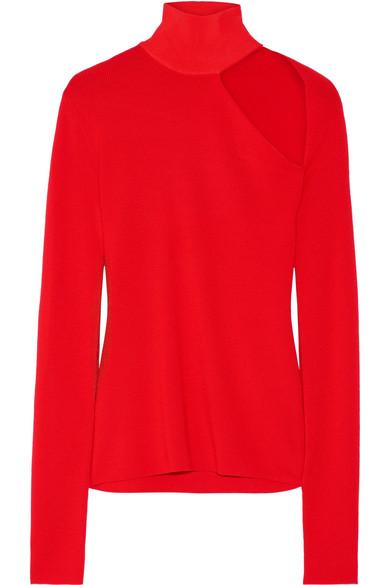 Dion Lee - Cutout Merino Wool-blend Turtleneck Sweater - Red
