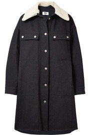 MM6 Maison Margiela Oversized faux shearling-trimmed cotton-blend drill coat