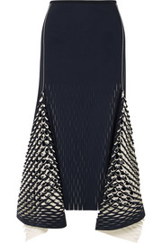 Dion Lee Asymmetric cutout neoprene midi skirt