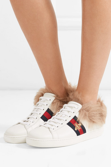 2caf435a084 Gucci. Ace shearling-lined embroidered leather sneakers