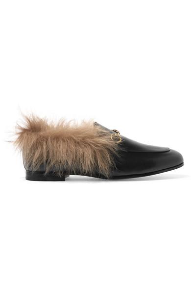 Jordaan Horsebit-detailed Shearling-lined Leather Loafers - Black Gucci JJgp999dY