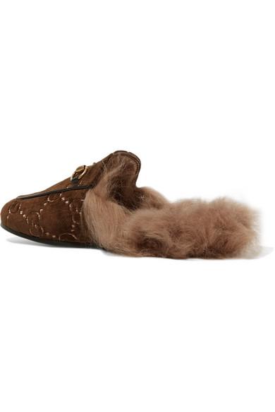 Gucci Princetown Slippers aus Samt-Jacquard mit Horsebit-Detail und Shearling-Futter Finden Großen Günstigen Preis Niedriger Preis Versandkosten Für Online W33rXprZ