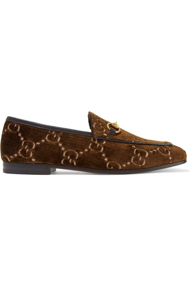 Jordaan Horsebit-Detailed Leather-Trimmed Logo-Jacquard Loafers, Brown