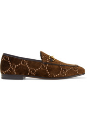 Gucci Jordaan horsebit-detailed leather-trimmed velvet-jacquard loafers