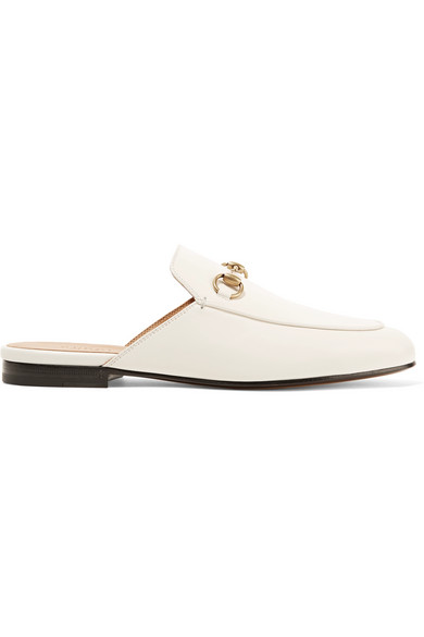 Princetown Horsebit-Detailed Leather Slippers in White