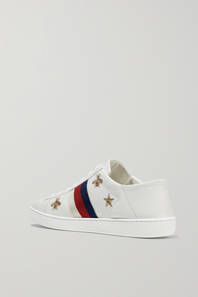 Ace Embroidered Leather Collapsible-heel Sneakers - White Gucci BLAYE9BU