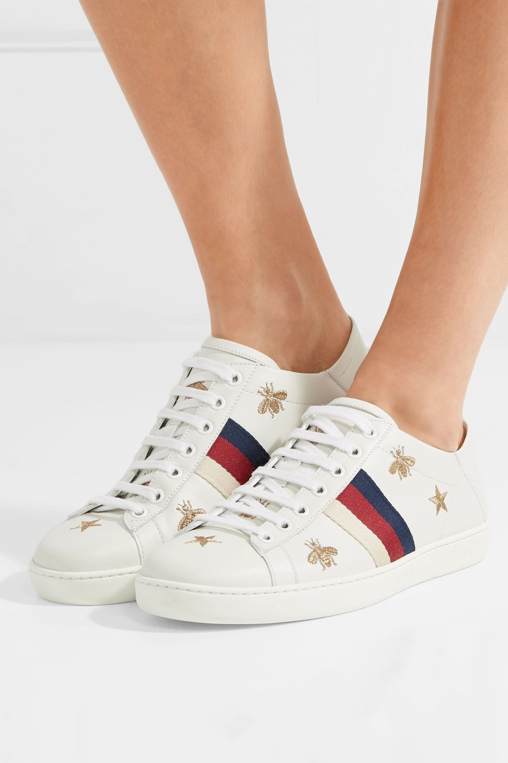 White Ace embroidered leather