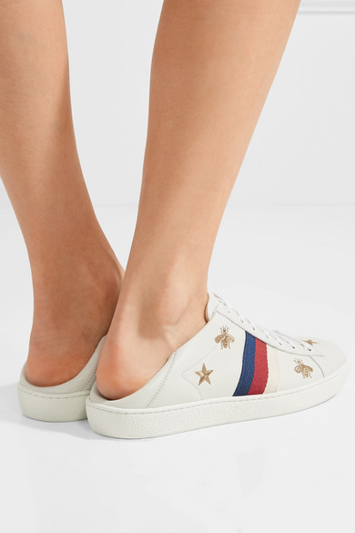 16a877da3 Gucci | Ace embroidered leather collapsible-heel sneakers | NET-A ...