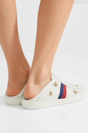 Gucci Ace embroidered collapsible-heel leather sneakers