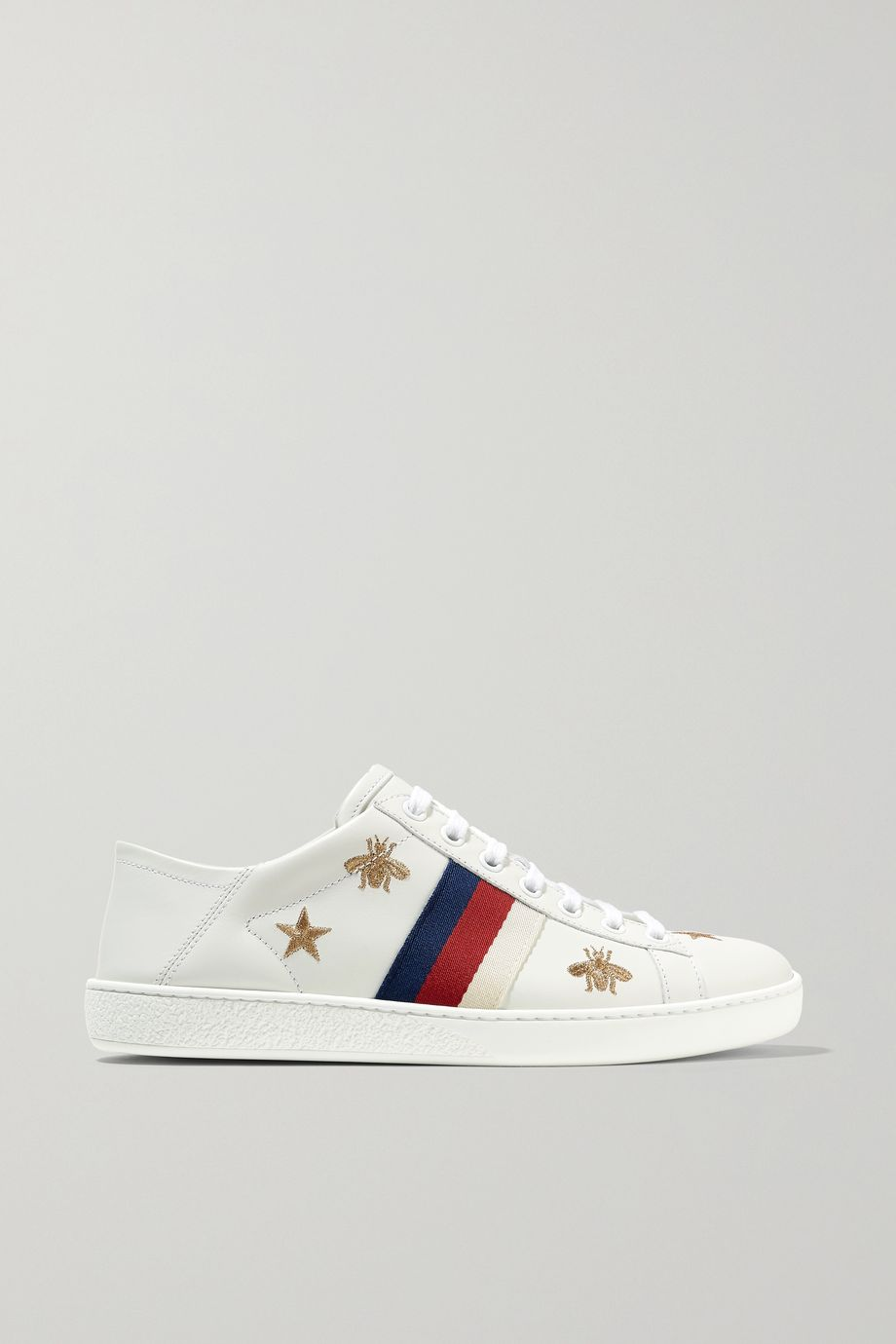 Ace embroidered leather collapsible-heel sneakers by Gucci, available on net-a-porter.com for $730 Alessandra Ambrosio Shoes Exact Product