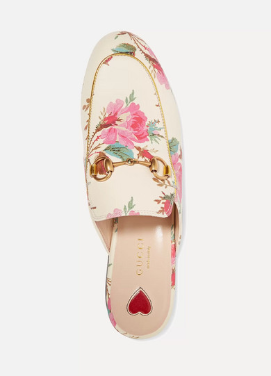 Gucci Shoes Princetown horsebit-detailed printed leather slippers