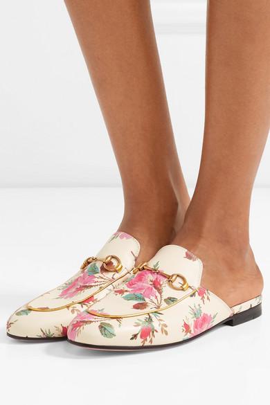 Gucci Princetown Rose Impression Pantoufles En Cuir - Blanc vrN5oeJ7