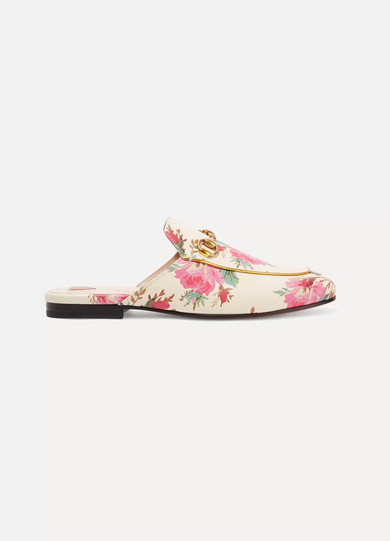PRINCETOWN HORSEBIT-DETAILED PRINTED LEATHER SLIPPERS
