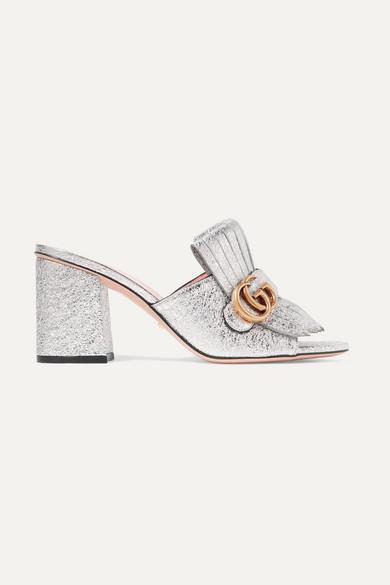 769ddb905 Gucci | Marmont fringed logo-embellished metallic cracked-leather ...
