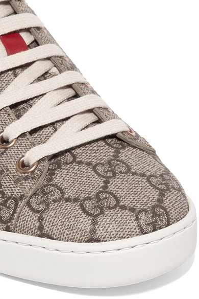 Ace Gg Supreme Metallic Watersnake-trimmed Logo-print Coated-canvas Sneakers - Gray Gucci V9xW2e9CR3