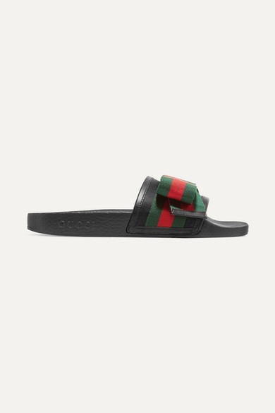 8ad241abcca Gucci. Bow-embellished satin and rubber slides