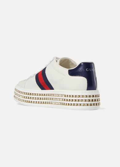 99cf56f8b75 Gucci. Ace embellished leather platform sneakers.  1