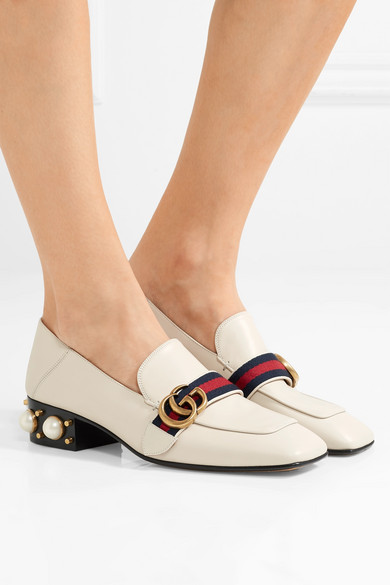 f42f538858a Gucci. Logo and faux pearl-embellished leather collapsible-heel pumps