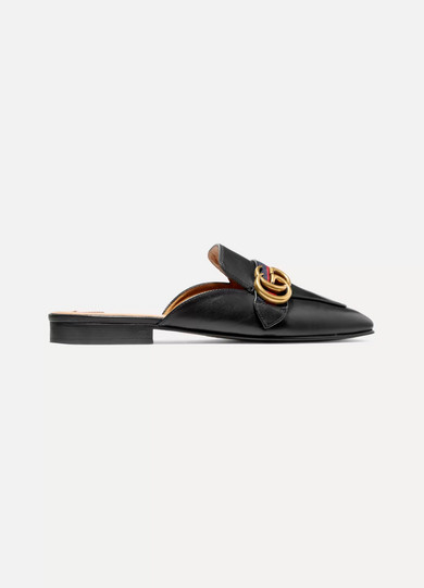 Gucci Shoes Logo-embellished leather slippers