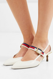Gucci Unia grosgrain-trimmed leather pumps