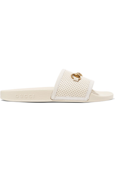 Pursuit Perforated Leather Slide Sandals - White Size 7 in 9522 Ivory