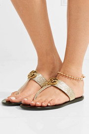 Marmont logo-embellished metallic textured-leather sandals
