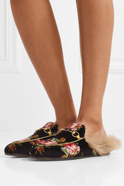 Gucci Princetown horsebit-detailed shearling-lined floral-print velvet slippers
