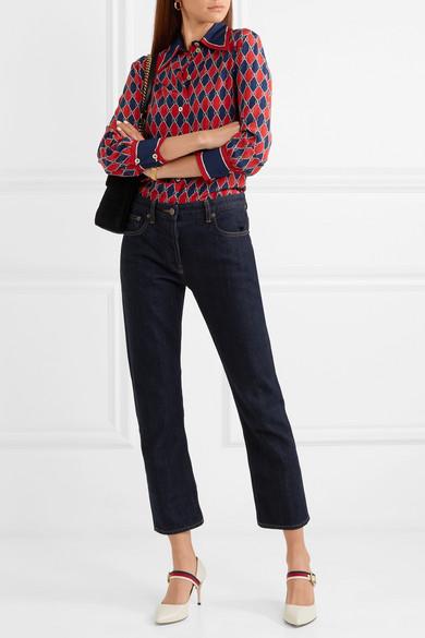Gucci Sylvie Pumps aus Leder mit Ripsbandbesatz Modisch Original Mit Paypal Verkauf Online DFEbtf