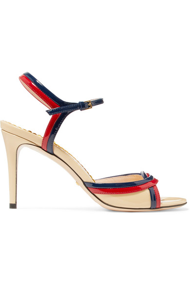 Millie Patent-Leather Sandals, Beige/ Red/ Blue