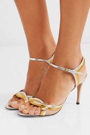 Millie metallic and patent-leather sandals