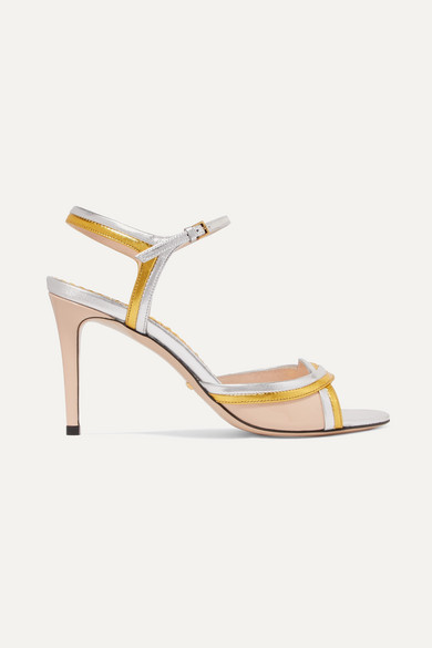 Millie Metallic And Patent Leather Sandals by Gucci