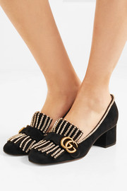 Gucci Marmont crystal-embellished fringed suede pumps