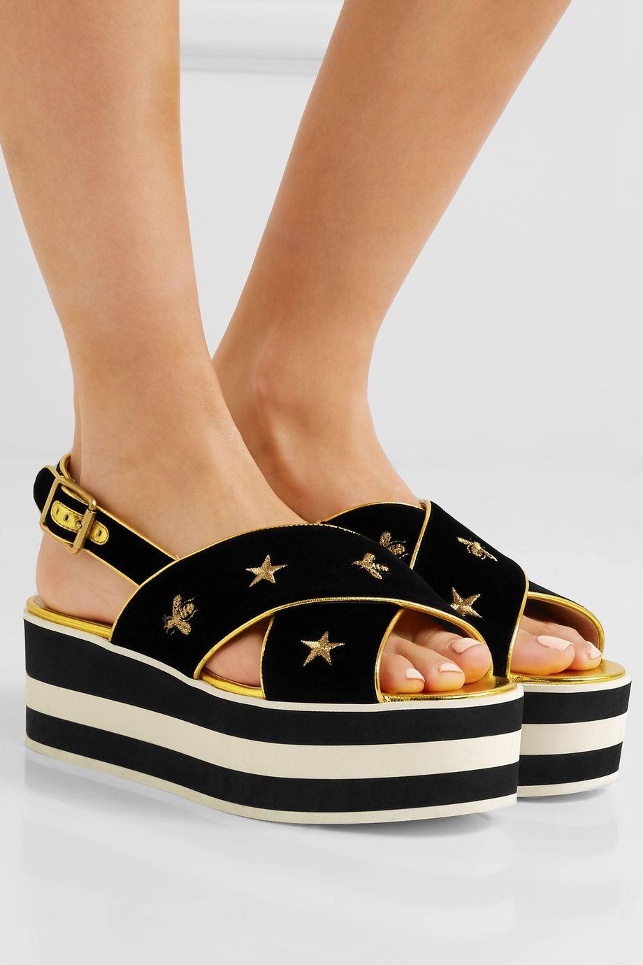 Gucci Leather-trimmed embroidered velvet platform sandals
