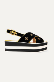 Gucci Peggy leather-trimmed embroidered velvet platform sandals