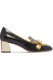 Gucci Cheryl embellished printed coated-canvas and leather loafers