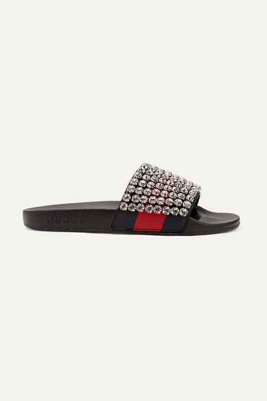 d803aecdc Gucci | Crystal-embellished leather and rubber slides | NET-A-PORTER.COM