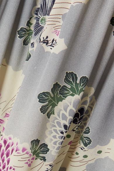 Co Maxikleid aus Crêpe de Chine aus Seide mit floralem Print