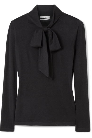 Co - Pussy-bow Cashmere Sweater - Black