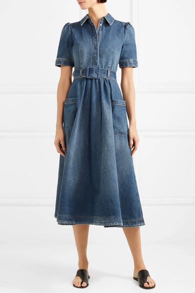 denim midi dress with sleeves 8c9a70