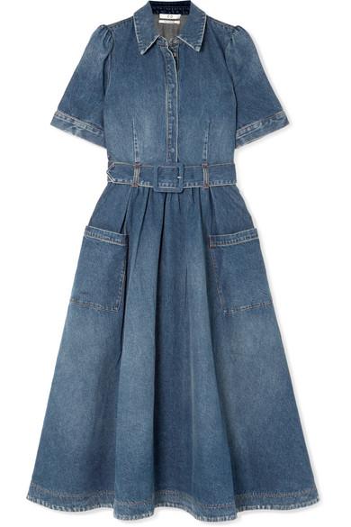 Co Denim Fit & Flare Midi Dress In Blue
