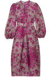 Co Belted floral-jacquard midi dress