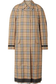 Reversible checked cotton-gabardine coat