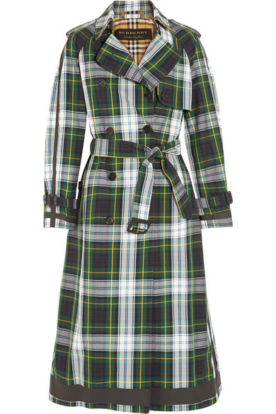 Trench-coat Burberry En Gabardine De Coton Avec Motif Tartan