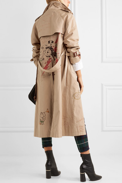 Printed cotton-gabardine trench coat 486f42dcecd7a