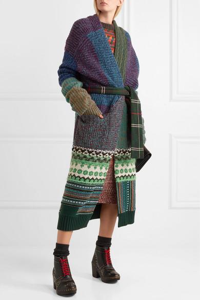 Burberry Oversized-Cardigan aus einer Kaschmirmischung in Patchwork-Optik