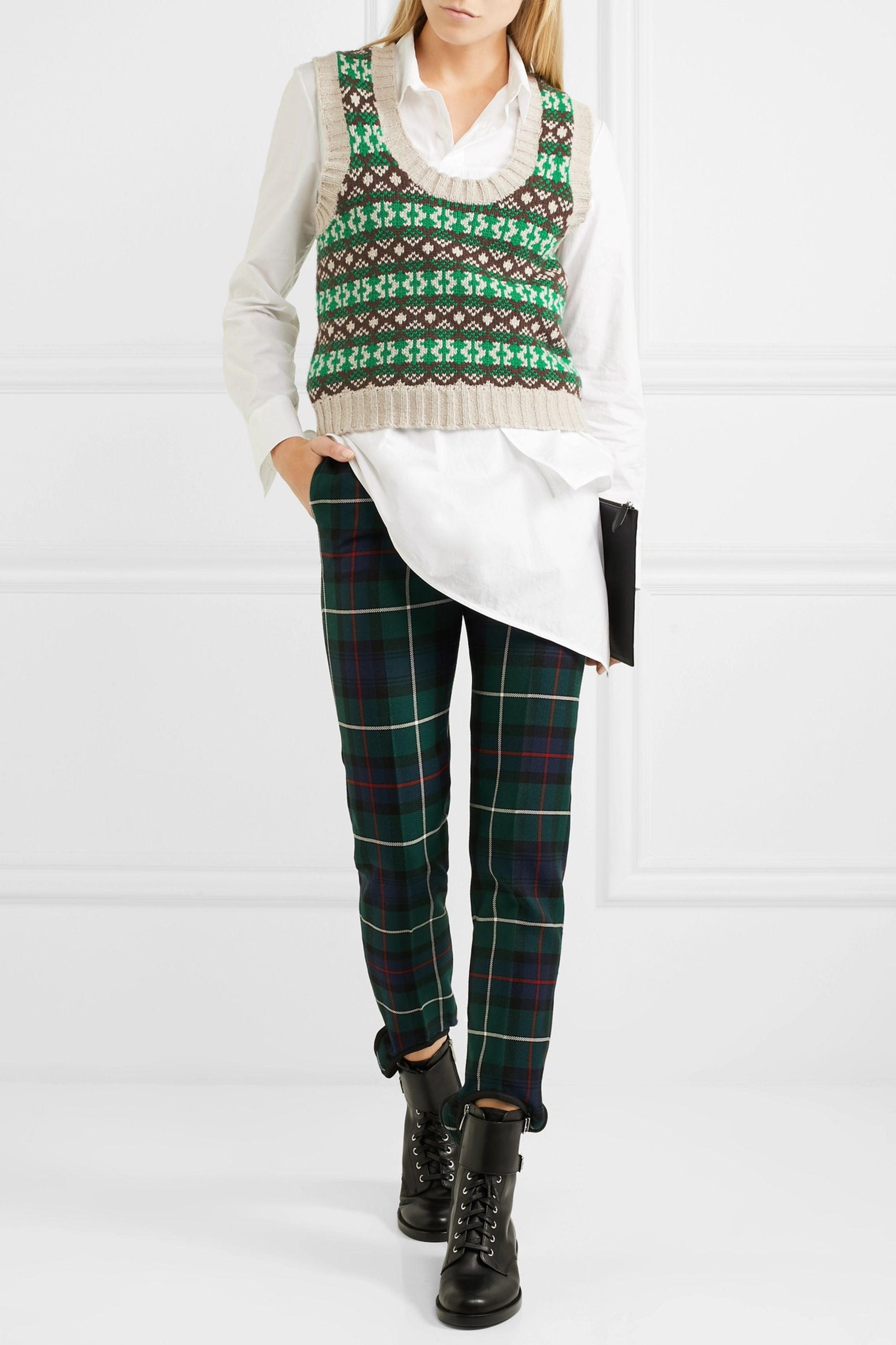 Burberry Fair Isle cashmere and wool-blend tank