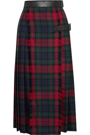 Burberry Leather-trimmed tartan wool midi skirt