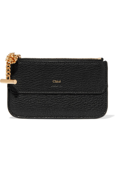 Chloé Drew Card Case Made Of Textured Leather